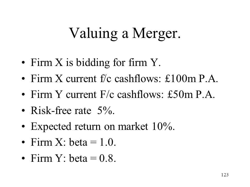 Valuing a Merger. Firm X is bidding for firm Y.