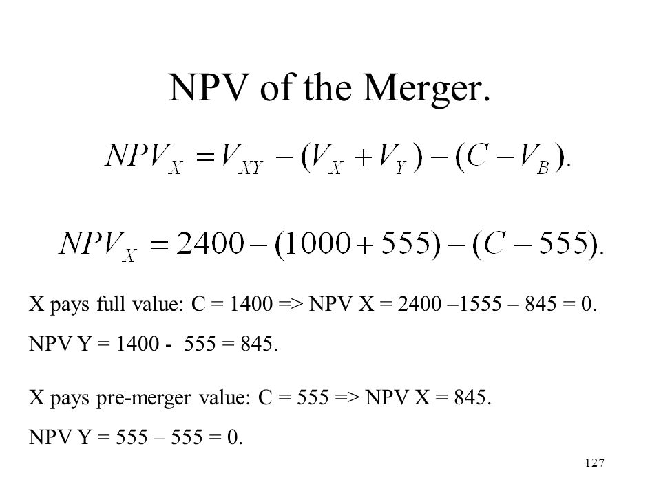 NPV of the Merger. X pays full value: C = 1400 => NPV X = 2400 –1555 – 845 = 0. NPV Y = 1400 - 555 = 845.