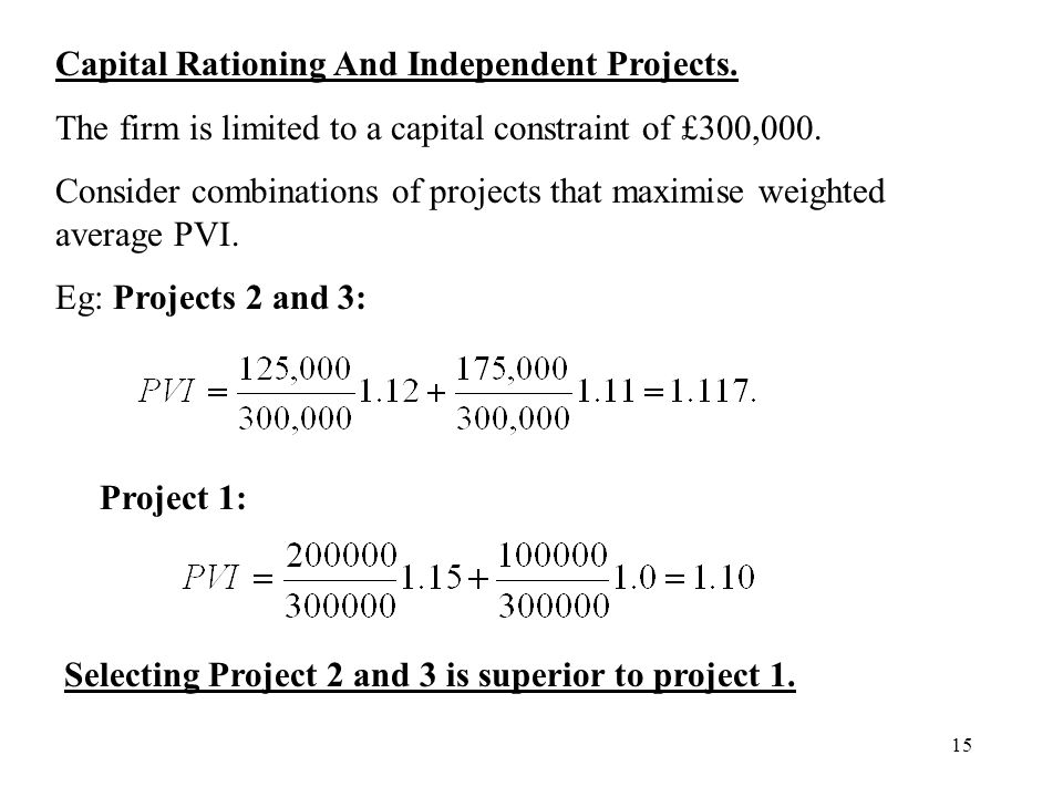 Capital Rationing And Independent Projects.