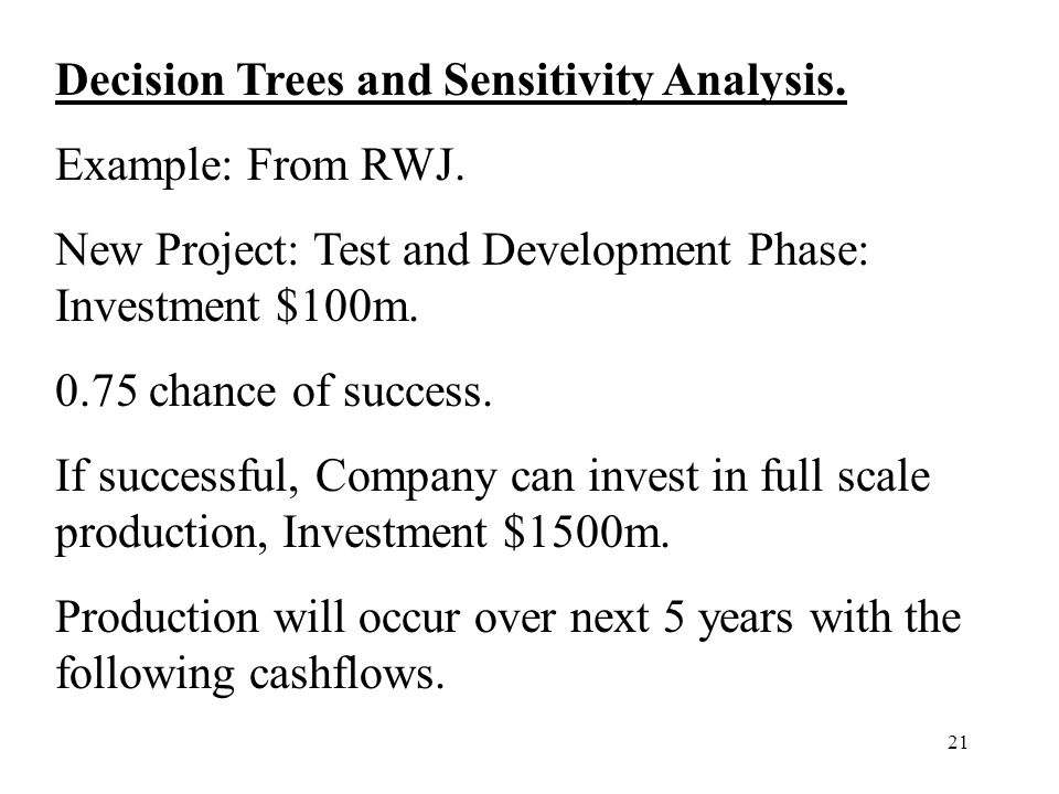 Decision Trees and Sensitivity Analysis.