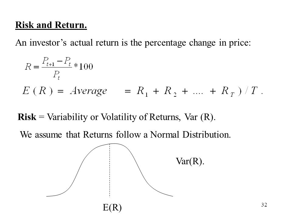 Risk and Return. An investor's actual return is the percentage change in price: Risk = Variability or Volatility of Returns, Var (R).