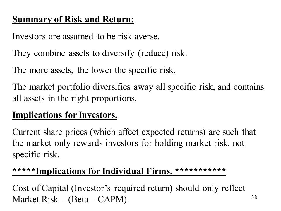 Summary of Risk and Return: