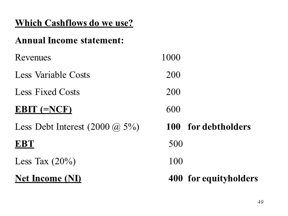 Which Cashflows do we use