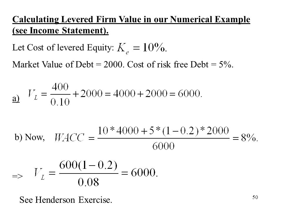 Calculating Levered Firm Value in our Numerical Example (see Income Statement).