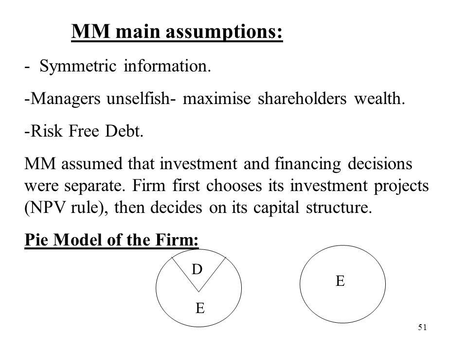 MM main assumptions: - Symmetric information.