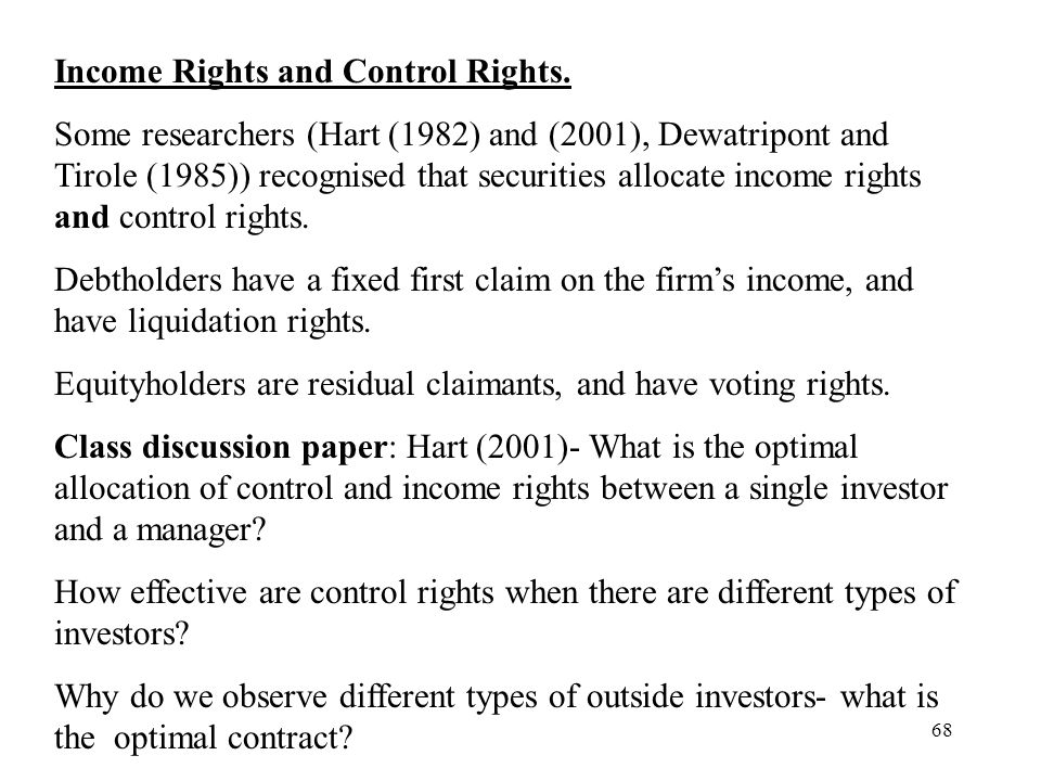 Income Rights and Control Rights.