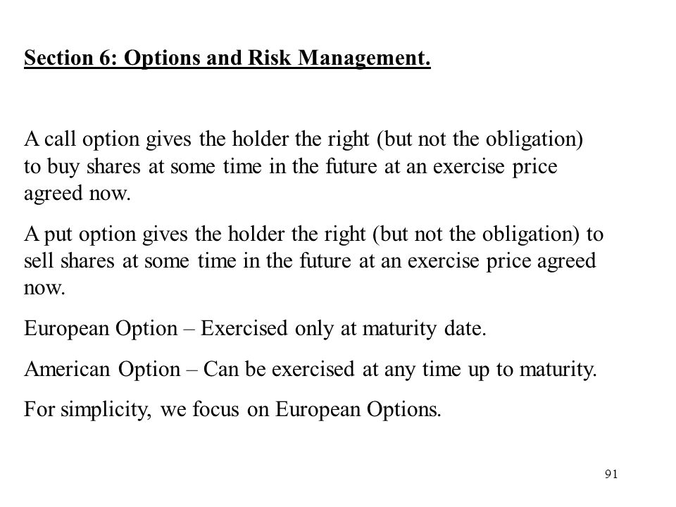 Section 6: Options and Risk Management.