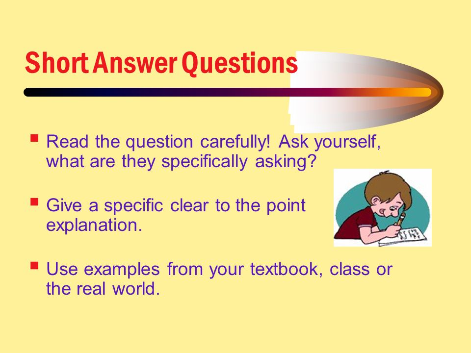 short answer questions Short stories (fiction) questions for your custom printable tests and worksheets in a hurry browse our pre-made printable worksheets library with a variety of activities and quizzes for all k-12 levels.