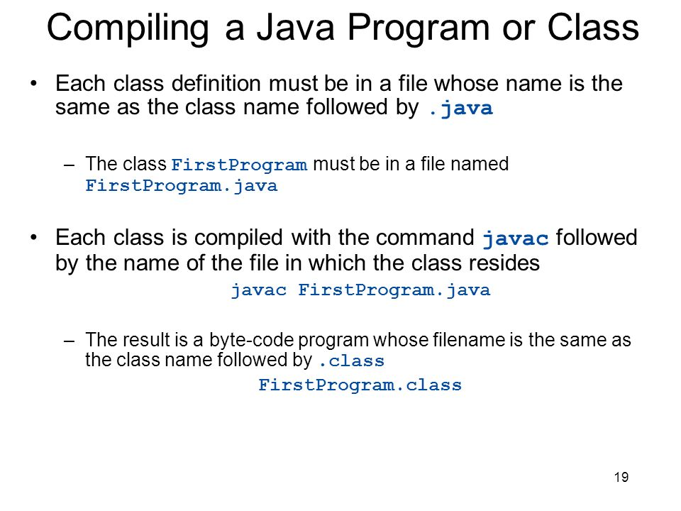 Compiling a Java Program or Class