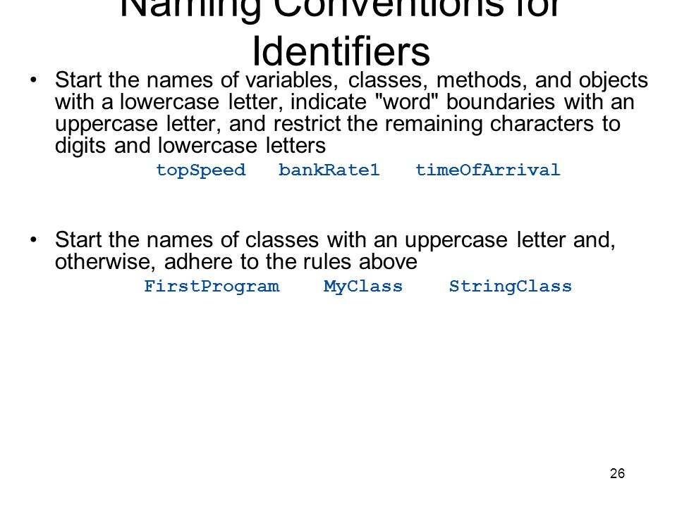Naming Conventions for Identifiers