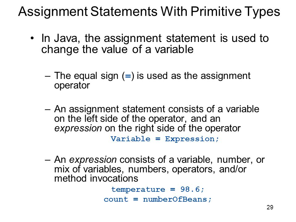 Assignment Statements With Primitive Types