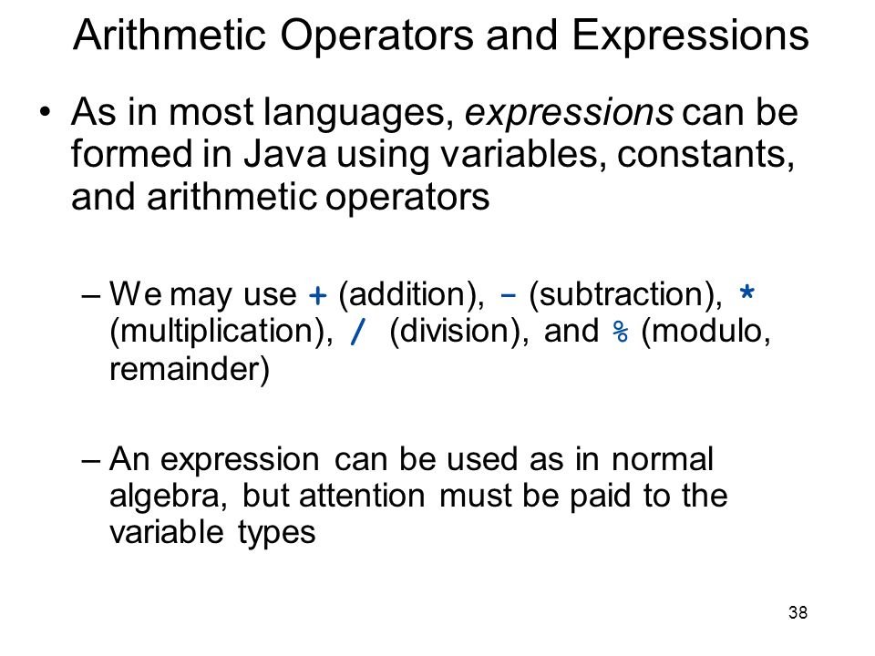 Arithmetic Operators and Expressions