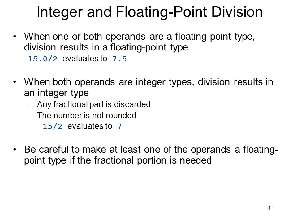 Integer and Floating-Point Division