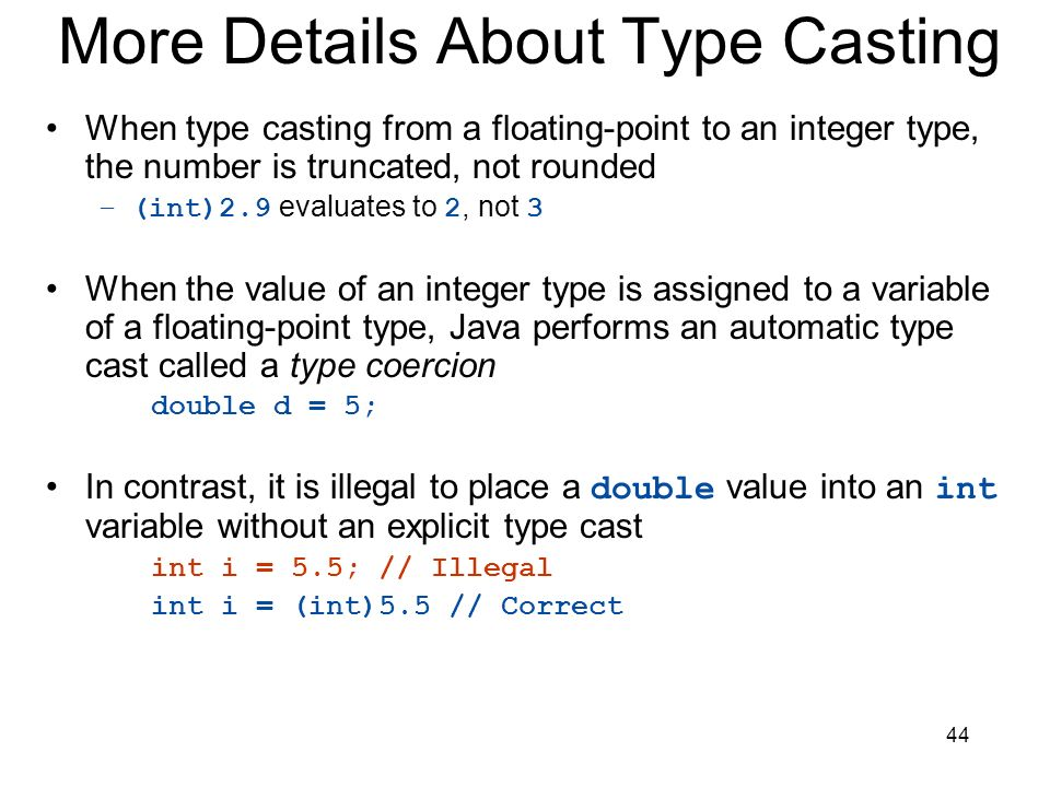 More Details About Type Casting