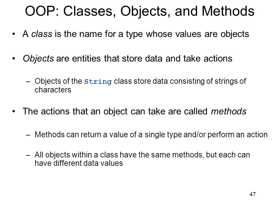 OOP: Classes, Objects, and Methods