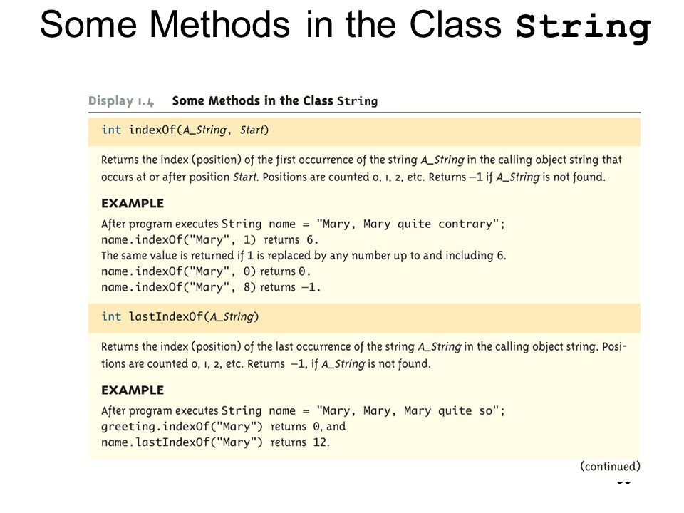 Some Methods in the Class String