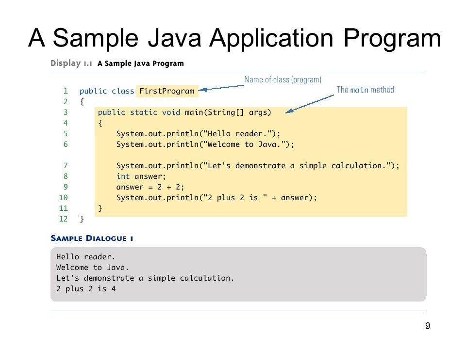 A Sample Java Application Program