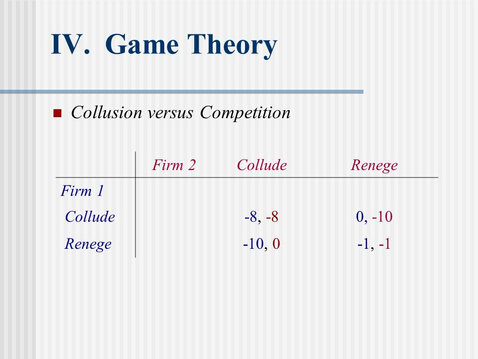 IV. Game Theory Collusion versus Competition Firm 2 Collude Renege