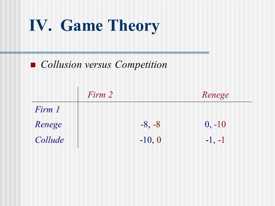 IV. Game Theory Collusion versus Competition Firm 2 Renege Firm 1