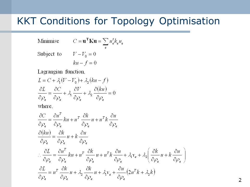 KKT Conditions for Topology Optimisation