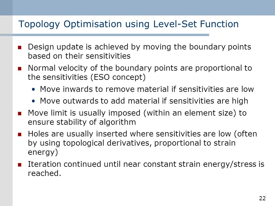 Topology Optimisation using Level-Set Function