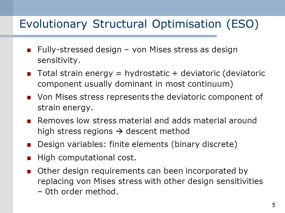 Evolutionary Structural Optimisation (ESO)