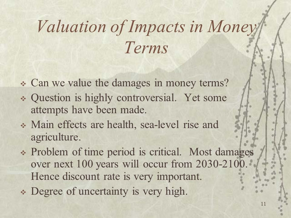 Valuation of Impacts in Money Terms