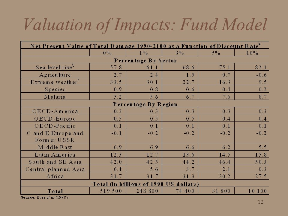 Valuation of Impacts: Fund Model