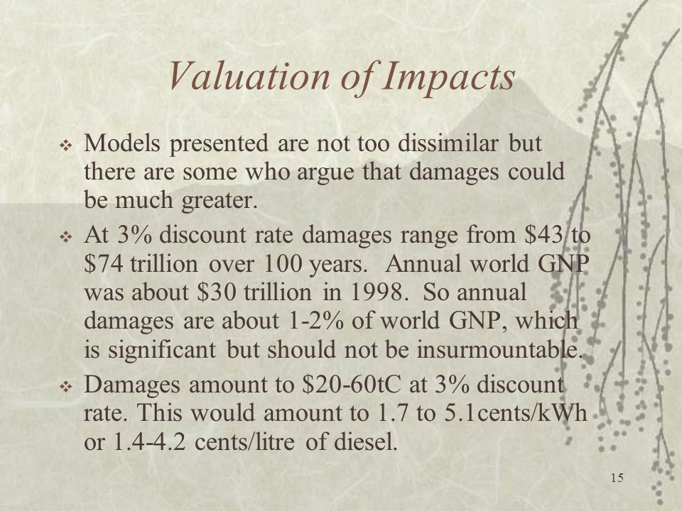 Valuation of Impacts Models presented are not too dissimilar but there are some who argue that damages could be much greater.