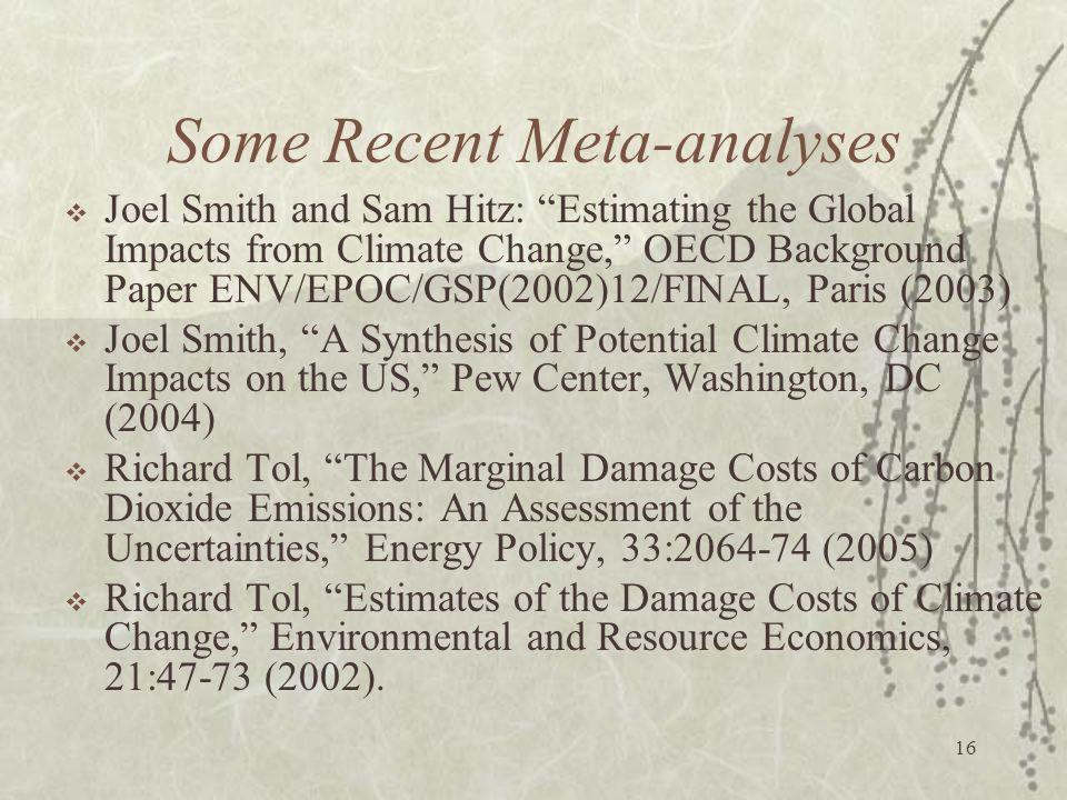 Some Recent Meta-analyses