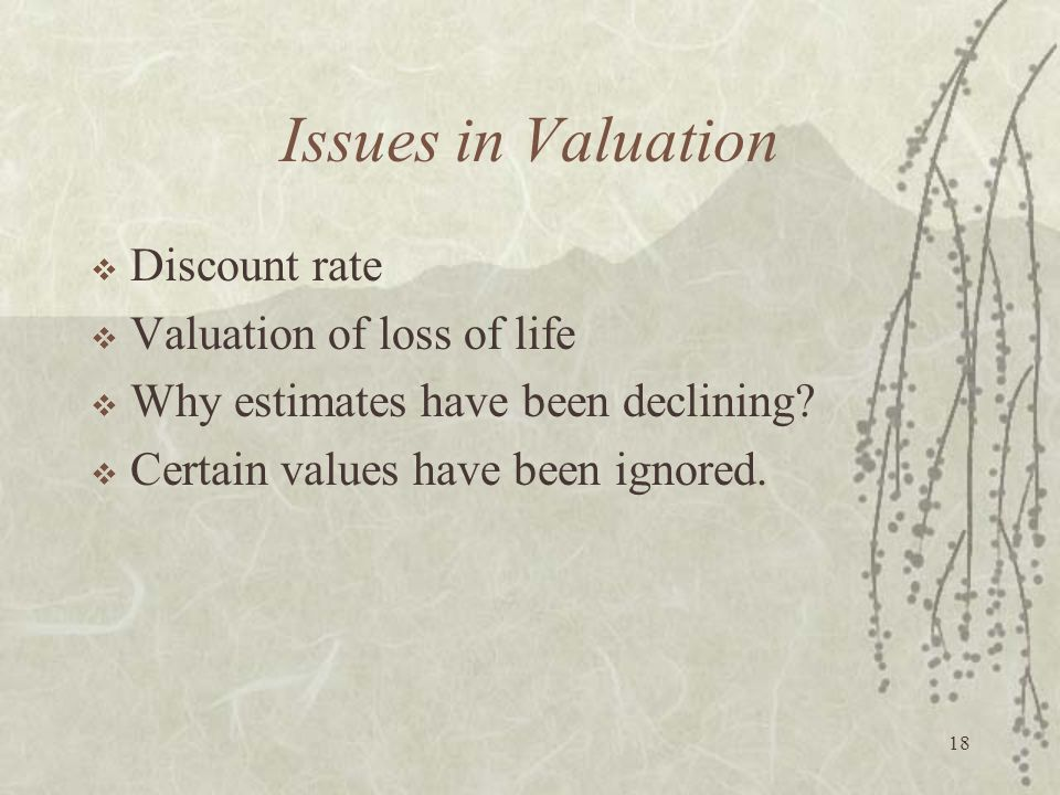 Issues in Valuation Discount rate Valuation of loss of life