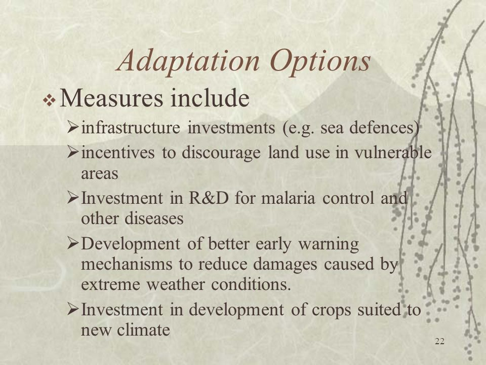 Adaptation Options Measures include