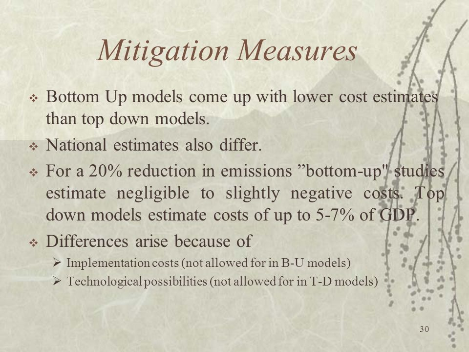 Mitigation Measures Bottom Up models come up with lower cost estimates than top down models. National estimates also differ.