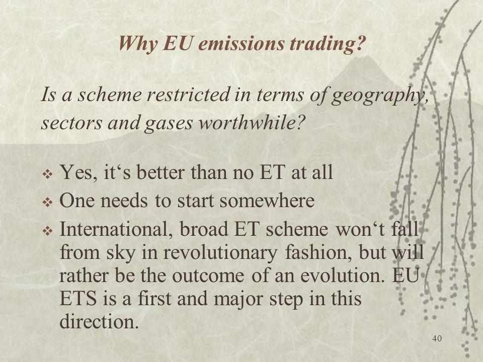 Why EU emissions trading