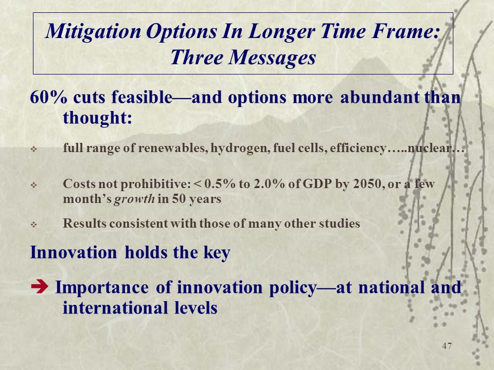 Mitigation Options In Longer Time Frame: Three Messages