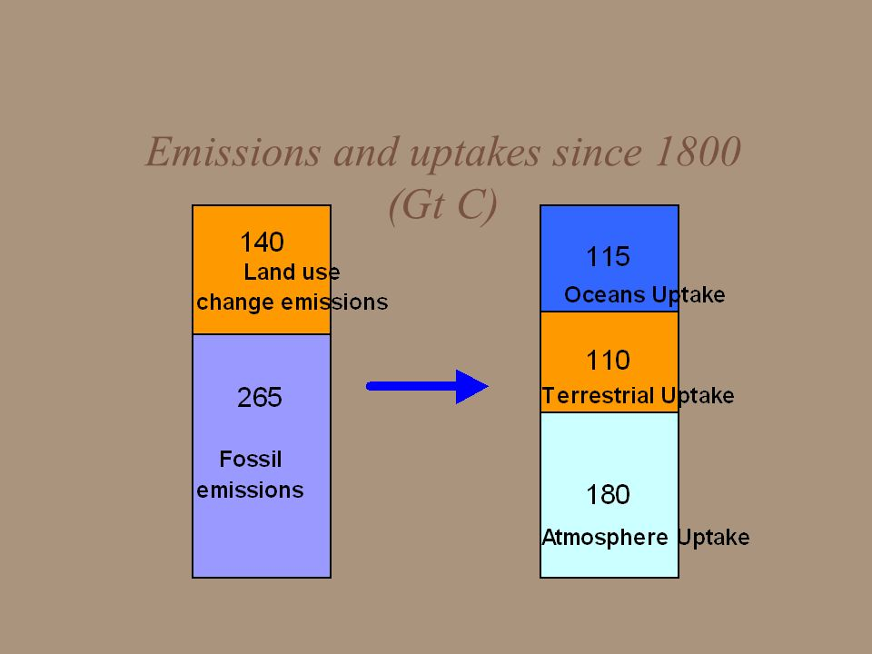 Emissions and uptakes since 1800 (Gt C)