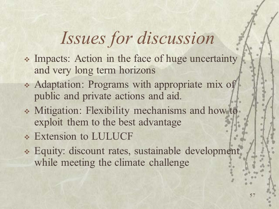 Issues for discussion Impacts: Action in the face of huge uncertainty and very long term horizons.