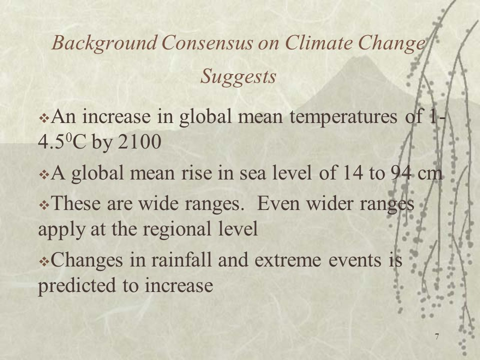 Background Consensus on Climate Change Suggests
