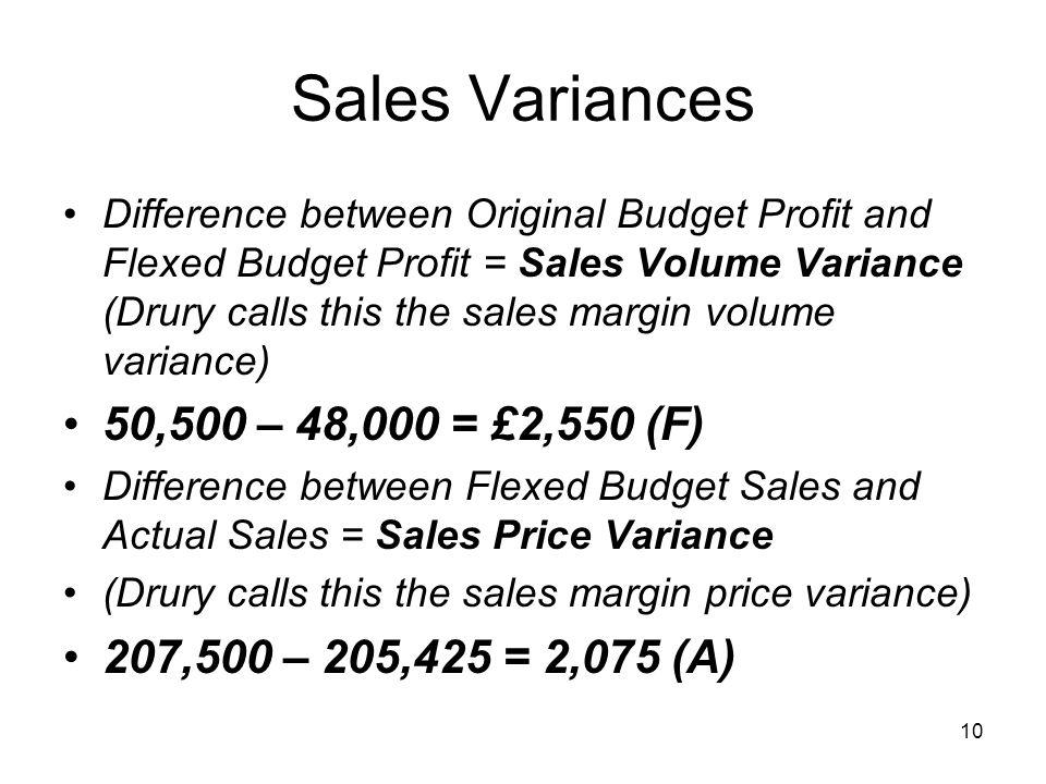 Sales Variances 50,500 – 48,000 = £2,550 (F)