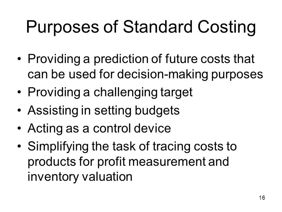 Purposes of Standard Costing