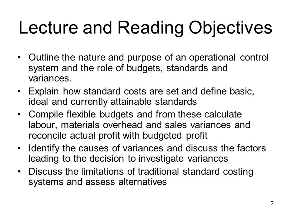 Lecture and Reading Objectives