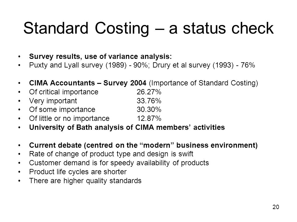 Standard Costing – a status check