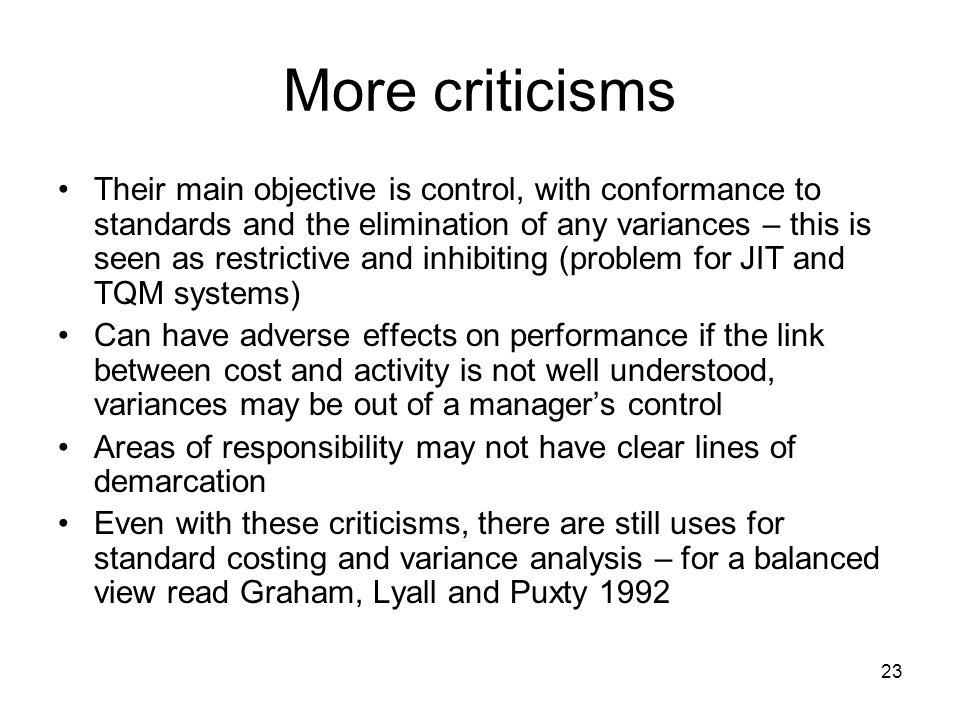More criticisms