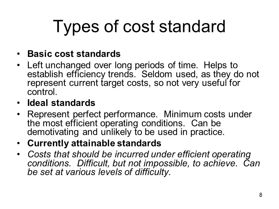 Types of cost standard Basic cost standards