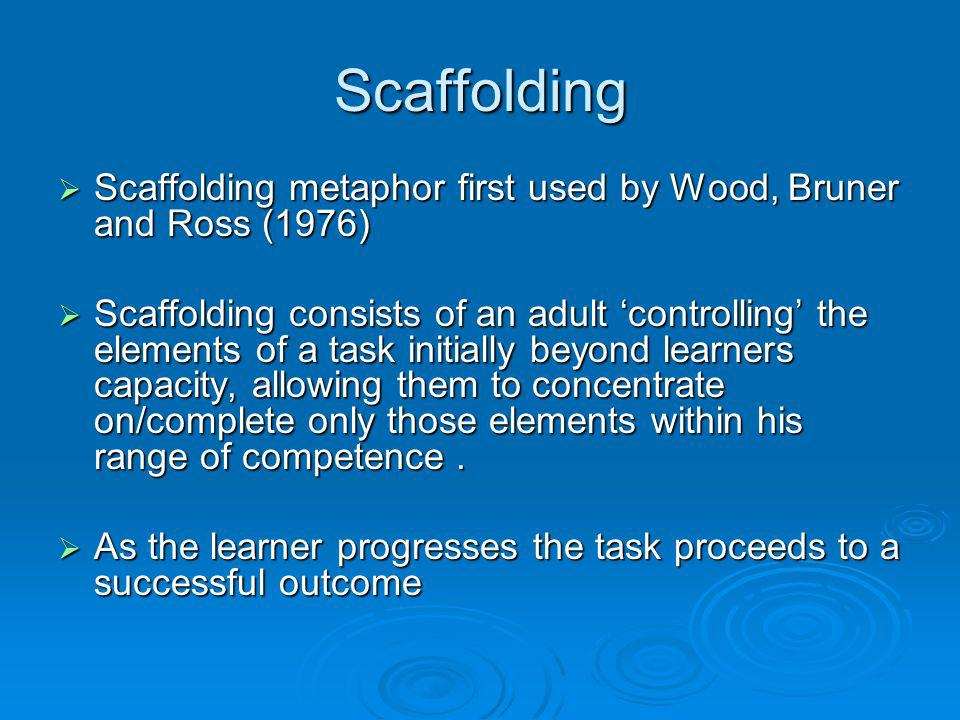 Scaffolding Scaffolding metaphor first used by Wood, Bruner and Ross (1976)