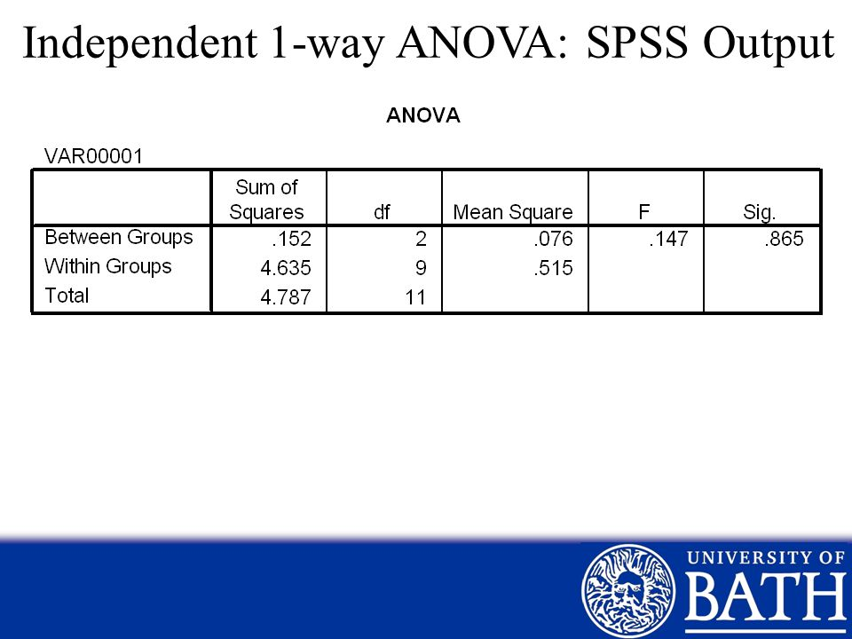 Independent 1-way ANOVA: SPSS Output