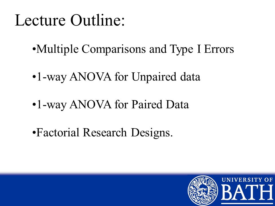 Lecture Outline: Multiple Comparisons and Type I Errors
