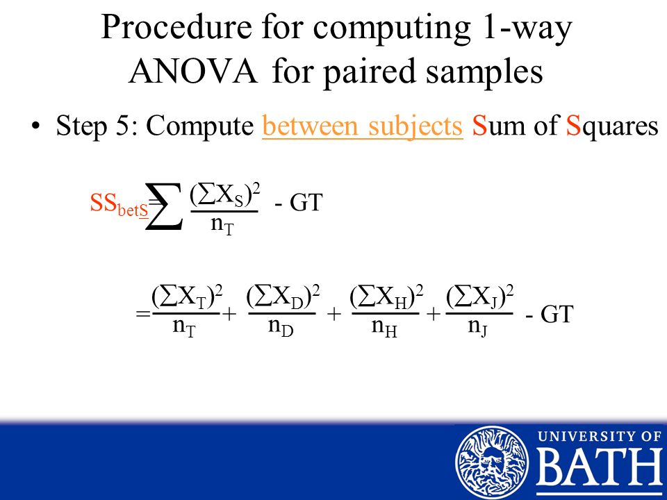 Procedure for computing 1-way ANOVA for paired samples