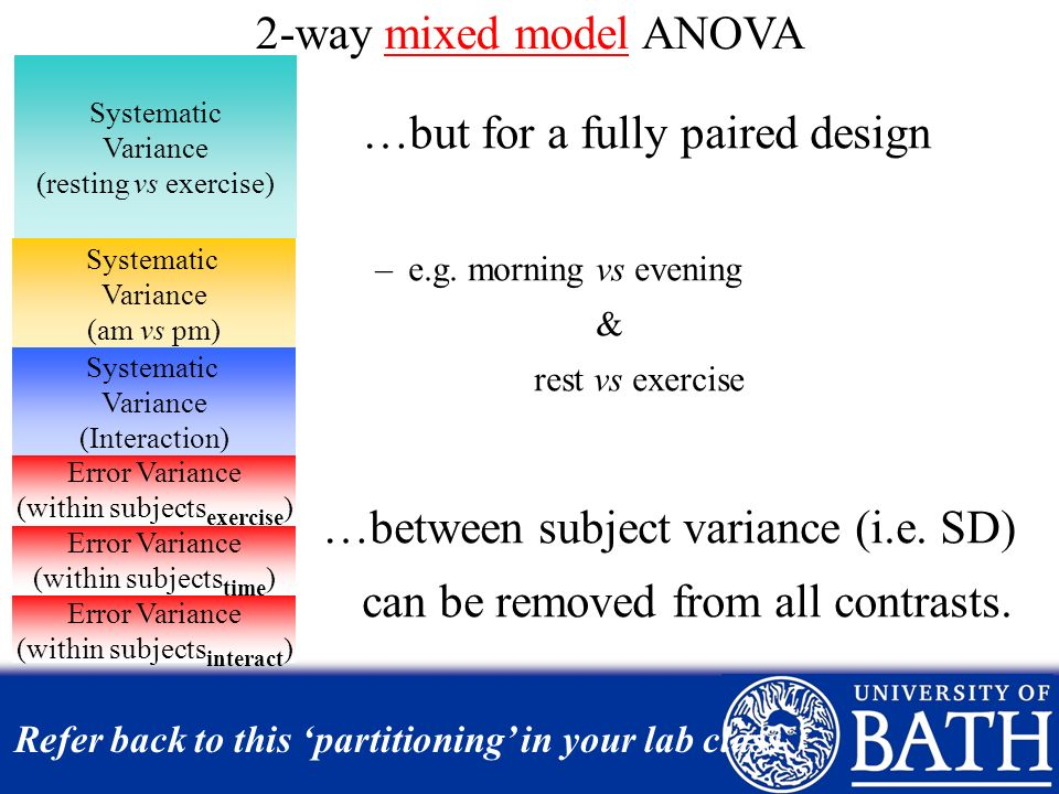 Refer back to this 'partitioning' in your lab class