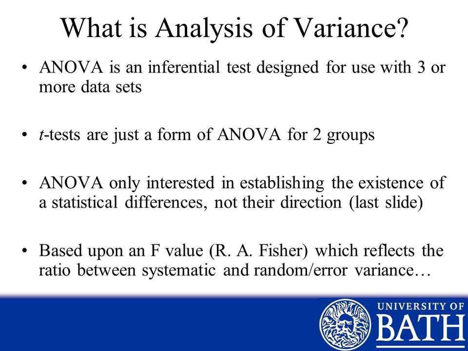 What is Analysis of Variance